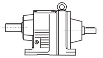 Foot-mounted extension type, oblique gear speed reducer with motor-free shaft input