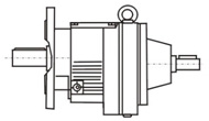 Flange-mounted extension type, oblique gear speed reducer with motor-free shaft input