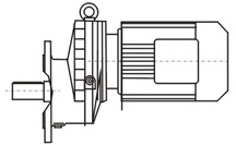 Flange-mounted single-stage helical gear units with solid shaft